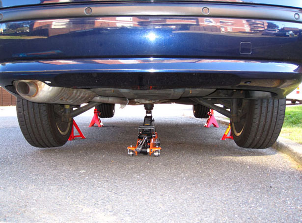 car jack stands. bmw on jack stands car